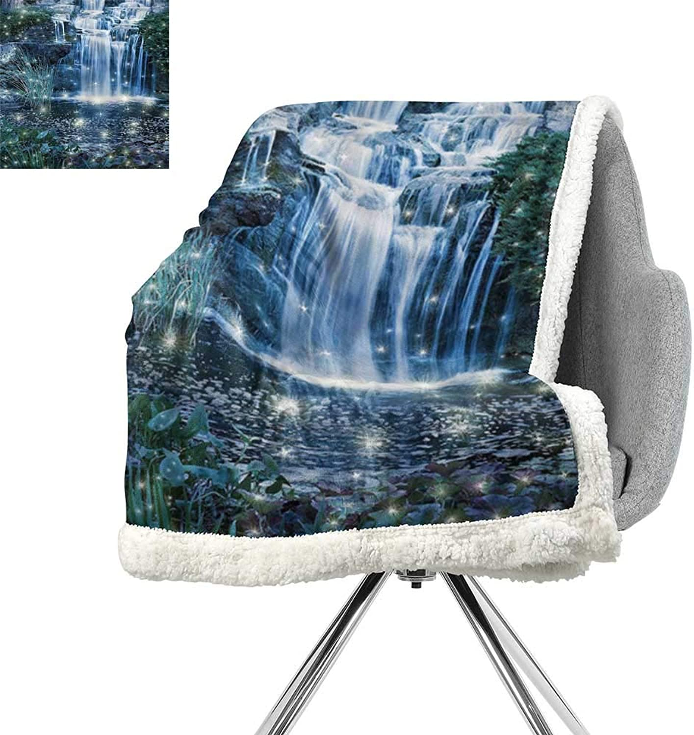 Magic Home Decor Lightweight Microfiber Blankets,Fairy Fantastic Waterfalls at Night with Alluring Light on The Water Fresh Landscape,Grey Green,Warm Breathable Comforter for Girls Kids Adults