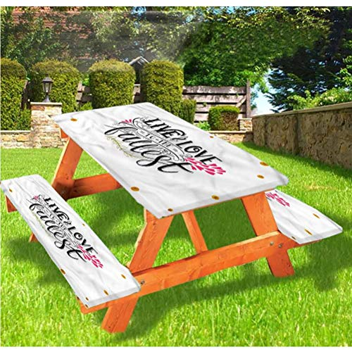Love Picnic Table and Bench Fitted Tablecloth Cover,Live to the Fullest Retro Elastic Edge Fitted Tablecloth,28 x 72 Inch, 3-Piece Set for Camping, Dining, Outdoor, Park, Patio