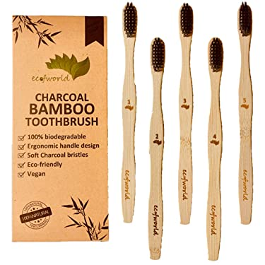 ECOFWORLD USDA Certified Eco-Friendly Natural Bamboo Toothbrush - Organic Reusable Wooden Brush   Extra Soft Charcoal Infused BPA Free Bristles Biodegradable   Individually Packed (Adults - 5 Pack)