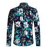 APTRO メンズ 花柄シャツ スリムフィット カジュアル 長袖シャツ US サイズ: Medium カラー: ブルー