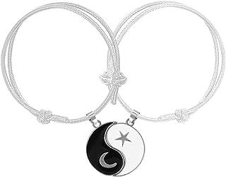 COLORFUL BLING 2 Pcs Yin Yang Moon Star Strand Wrap Rope Cord Bracelet Set Bangle for Couple BFF Matching Puzzle Pendant B...