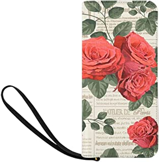 Cacti Roses Sunflowers Poppies Flowers Womens Clutch Wallet Large Wristlet Zipper Clutch Large Travel Purse