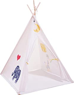 Beauenty Teepee Tent for Kids - Kids Foldable Play Tent for Indoor Outdoor,Portable Kids Tent-Indian Style tent (White gir...
