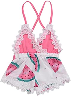 2018 Summer Toddler Baby Girls Romper Shorts,Watermelon Print Lace Backless Strap Jumpsuit Outfits