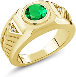 1.68 Ct Round Green Simulated Emerald 18K Yellow Gold Plated Silver Men's Ring