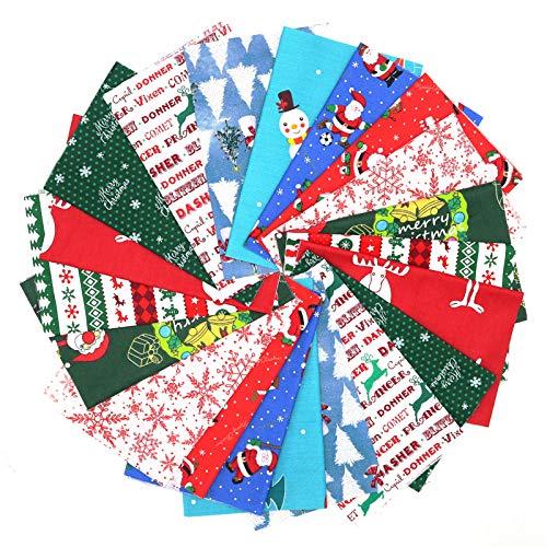 JEEBAY 20 Stücke Weihnachten Muster Baumwollstoff Meterware Stoffe zum Nähen Stoffreste Stoffpaket 100% Baumwolle Patchwork für DIY Fertigkeit Baumwolltuch zum Quilten,25×20cm