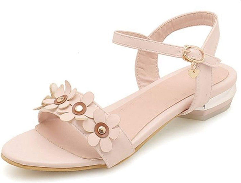 Houfeoans Size 32-44 Women Sandals Flat Heel Buckle Flower Ladies Summer shoes Korean Women Sandals