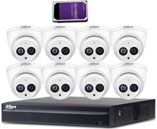 Dahua 16CH 6MP PoE Home Security Camera System, 6MP Outdoor PoE IP Cameras with Build in MIC, 4K 8-Channel NVR(NVR4216-16P-4KS2+IPC-HDW4631C-A 2.8MM(8PCS)+4TB HDD(1PCS))