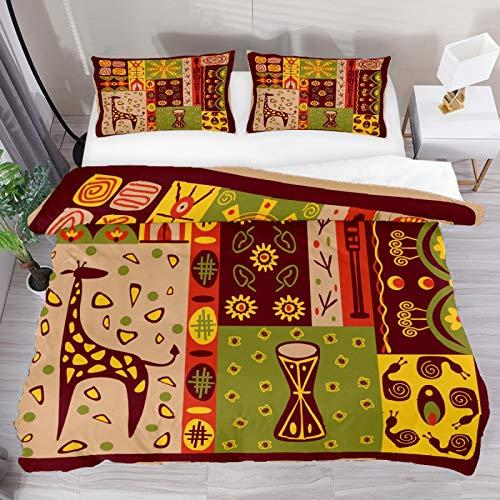 Bettbezug, Vintage, ethnischer indischer Totem-Giraffen-Druck, 2-teiliges Bettwäsche-Set, Bettdeckenbezug, 1 Kissenbezug, 1 Bettbezug