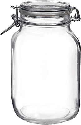 BORMIOLI ROCCO 418330F27321990 Fido Square Jar, 67.75 oz, Clear