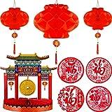 12 Piezas Decoraciones de Año Nuevo Chino Centro de Mesa de Año Nuevo Chino Centro de Mesa Asiático de Gong Adhesivo de Fu de Ventana de Festival de Primavera Linternas Chinas de Papel Rojo