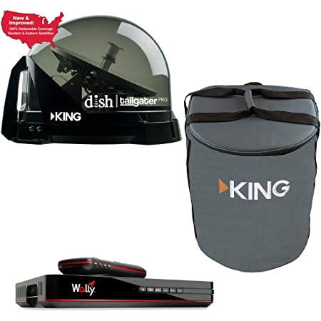RV Wholesale Direct DTP4900 Dish Tailgater Satellite Bundle with Carry Bag & Wally - Premium Portable/Roof Mountable Satellite TV Antenna and Dish Wally HD Receiver and Carry Bag