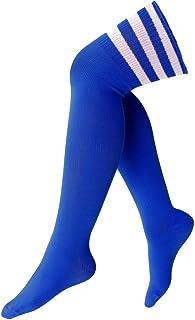 krautwear, Calcetines hasta la rodilla con 3 rayas por encima de la rodilla, con rayas y rayas, para cosplay, color negro, blanco, rojo y rosa