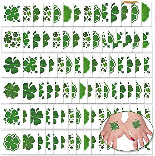 288 Pcs Shamrock Tattoos Saint Patrick's Day Tattoos St. Patrick's Day Stickers Party Supplies Decorations Irish Tattoo Sticker Clover Tattoos (288)