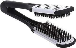 comprar comparacion ROSENICE Alisado del cabello Peine herramientas de peinado Cerda de jabalí Pinza de peine de cepillo de doble cara