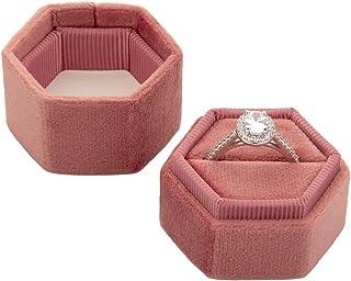 Koyal Wholesale Velvet Ring Box, Hexagon Vintage Wedding Ceremony Ring Box with Detachable Lid, 2 Piece Engagement Ring Bo...