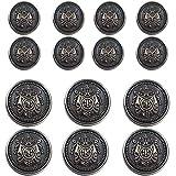 14 Piece Antiqued Black Silver Metal Blazer Button Set - Crown - for Blazer, Suits, Sport Coat, Uniform, Jacket 15mm 20mm