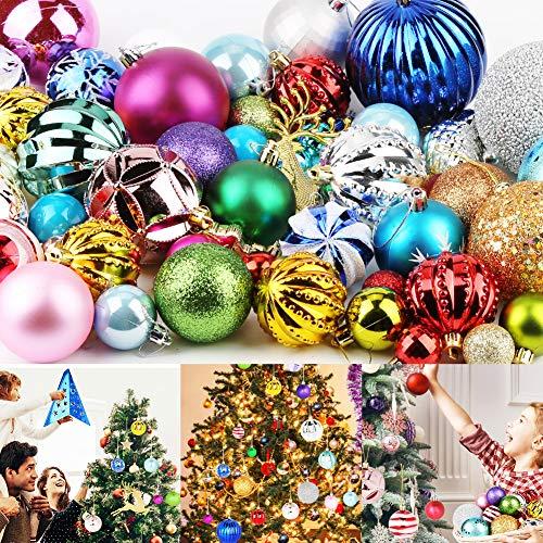 Etmury Weihnachtskugeln Bunt (60-70zufällig) Baumschmuck Weihnachten Deko Anhänger modisch Glänzend Bruchsiche Weihnachtskugeln (3-8cm) Winter Wünsche Weihnachten