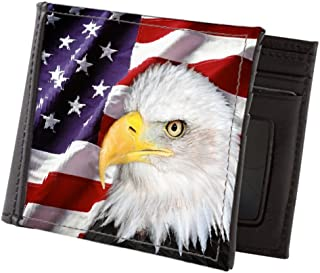 Mens American Flag Eagle Patriotic Red Blue Black GENUINE LEATHER Bifold WALLET