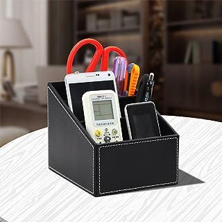 PU Leather Remote Control Holder Organizer Leather Desktop Storage Organizer with 3 Compartments Home Office Desk Decor Ac...