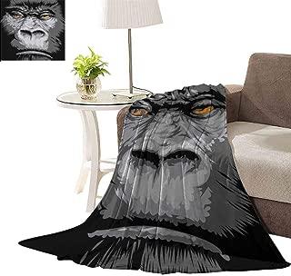 williamsdecor Luxury Fleece Blanket, Wild Gorilla Orange Eyes Pattern Design Blanket Super Soft Blanket Bed Warm Blanket Couch Blanket for All Season Dark, 40x50 Inch