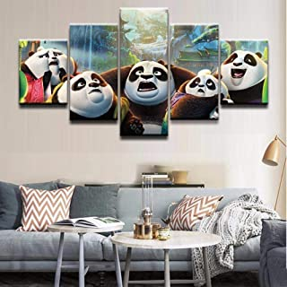 FUZI00 5 Piece Wall Art Canvas Prints Modern Home Decor Wall Art Oil Poster Print Painting On Canvas Artwork Kung Fu Panda 3 Character Picture Framed (31.5X59 Inch
