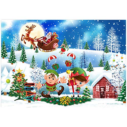 Allenjoy Christmas Let's Elfed Up Backdrop for Pictures Xmas Kids Birthday Party Photo Booth Decor New Year Wonderland Landscape Santa 7x5ft Winter Photography Background Family Photoshoot Props