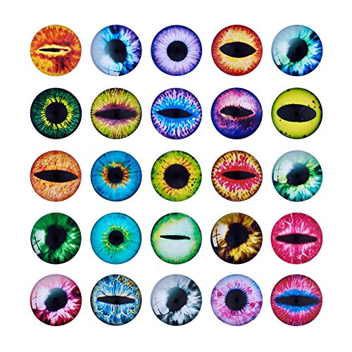 Beadthoven 25mm 80pcs Mixed Style Round Glass Dragon Eye Gem Cover Cabochon for Dome Jewelry Finding Cameo Pendent Doll Making
