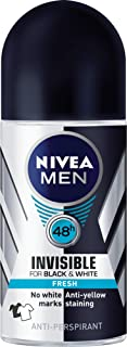 NIVEA MEN Invisible Black & White Fresh Roll On Anti-Perspirant Deodorant, 50ml