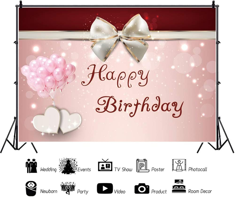 AOFOTO 7x5ft Vinyl Happy Birthday Pink Card Background Bow Balloon Love Heart Mum Mother Children Photography Backdrops Party Banner Dessert Table Decorations Family Portraits Photo Studio Props