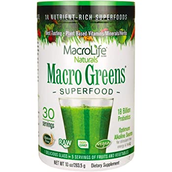 MacroLife Naturals Macro Greens Superfood Powder - Organic, Vegan Green Powdered Supplement Blend for Smoothies & Juice, 30 Servings