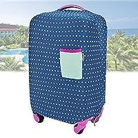 スーツケース 水玉 カバー おしゃれに キズから保護 ( 伸縮素材 弾性保護スリーブ仕様  ) (ネイビー S)