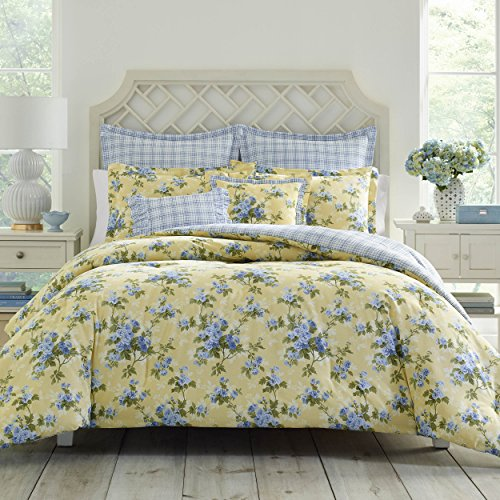 Laura Ashley Home | Cassidy Collection | Luxury Ultra Comforter, All Season Premium 7 Piece Bedding Set, Stylish Delicate Design for Home Décor, Full/Queen, Soft Yellow