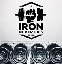 foselxm Wall Decal Sticker Art Mural Home Decor Quote Iron Never Lies to You Fitness Word Bodybuilding Gym