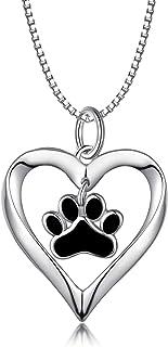 LONAGO - Collana in argento Sterling 925 a forma di cuore con cucciolo di cane, gatto, animale domestico, con ciondolo a f...