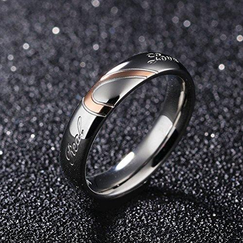 Ouken 1 PC corazón forma titanio par boda anillos de acero inoxidable...