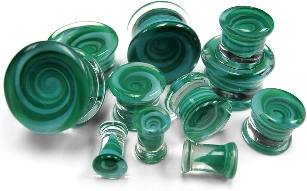 Urban Body Jewelry Pair of Green Vortex Glass Plugs 0 Gauge (0G - 8mm) - Double Flare