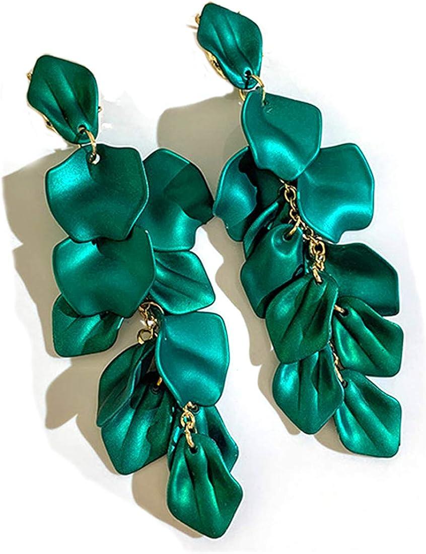 Long Acrylic Rose Petal Drop Dangle Earrings Bohemian Resin Flower Statement Earrings for Women Girls Gifts