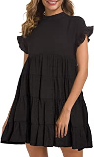 Women's Casual Summer Ruffle Babydoll Loose Mini Dress