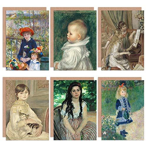 Pierre-Auguste Renoir Girl Watering Bohemienne Manet Piano Portrait Sisters Fine Art Greeting Card Pack of 6