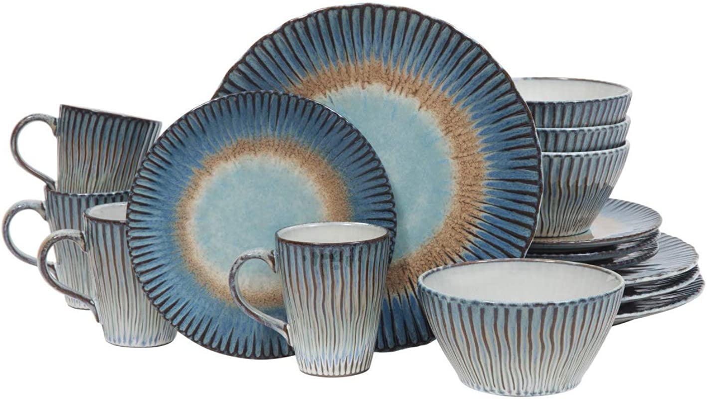 Dinnerware Set 16 Piece Round Dinner Dish Kit For 4 Kitchen Everyday Dishware With Ribbed Texturing Pattern Dining Plates Bowls Mugs Stoneware Tableware Dishwasher Microwave Safe Blue Beige