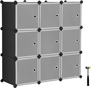 SONGMICS Cube Storage Organizer, 9-Cube DIY Plastic Closet Cabinet, Modular Bookcase, Storage Shelving with Doors for Bedroom, Living Room, Office, 36.6 L x 12.2 W x 36.6 H Inches Black ULPC33HV1