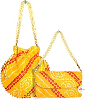 FeelOrna Women's Bandhej/Bandhani Traditional Rajasthani Combo of Potli Bags and Envelope clutch set with handle for Speci...