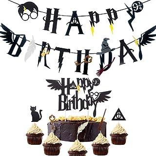 JeVenis 17 Sorcier inspiré Joyeux Anniversaire bannière Assistant de fête d'anniversaire Fournitures fête Sorcier gâteau T...
