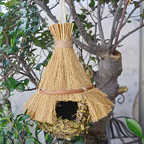 Casa para pájaros de paja hecha a mano, casa colgante para colibríes, pajareras naturales para despeje exterior, nido de pájaros, lugar de descanso acogedor, ideal para pájaros, proporciona refugio-A
