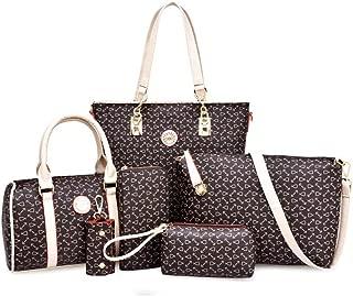 Women's Crossbody PU Leather Bag 6-Piece Satchels Top Handle Shoulder Crossbody Bags (Color : Brown, Size : M)