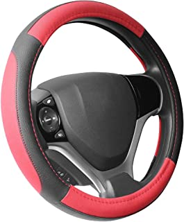 SEG Direct Black and Red Microfiber Leather Steering Wheel Cover for Prius Civic 14