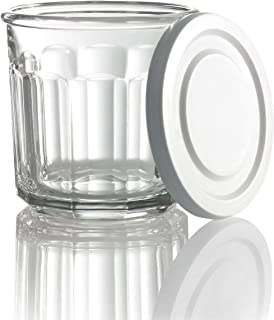 Arc International Luminarc Working Storage Jar/Dof Glass with White Lid, 14-Ounce, Set of 4 (New improved packaging)