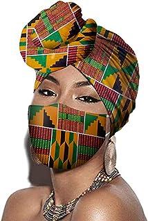 Kente Green and Orange African Headwraps and Face Cover 2 Piece Set Ankara Wax Fabric Headband Bandana Headscarf Women Acc...