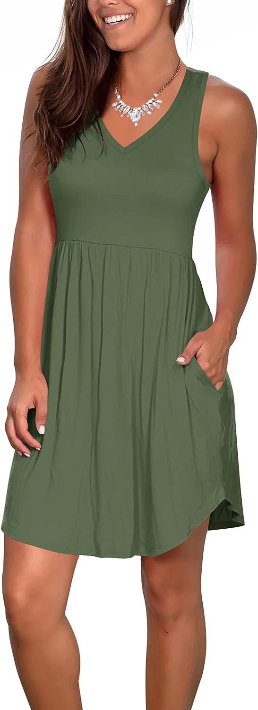 Atizon Casual Summer T Shirt Dress for Women V Neck Swing Elastic Tunic Short Sundress with Pockets